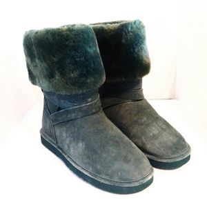 Lamo Forrest Green Faux Fur Tall Suede Boots
